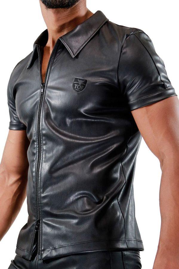 TOF Zipped Vest Fetish Black